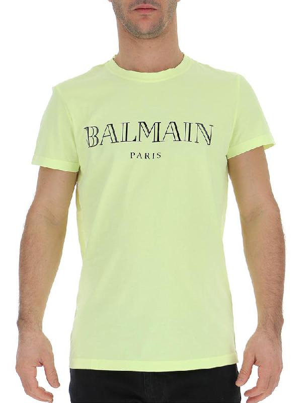 a2d27741 Balmain Logo Printed T In Yellow | ModeSens