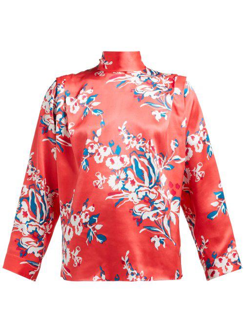 Roksanda Aulna Floral-Print Silk-Satin Blouse In Pink Print