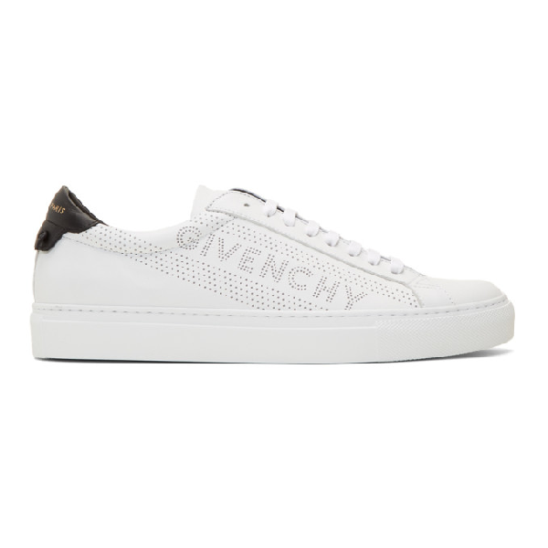 Givenchy Urban Street Logo-Perforated Leather Trainers In 116 Wht/Blk