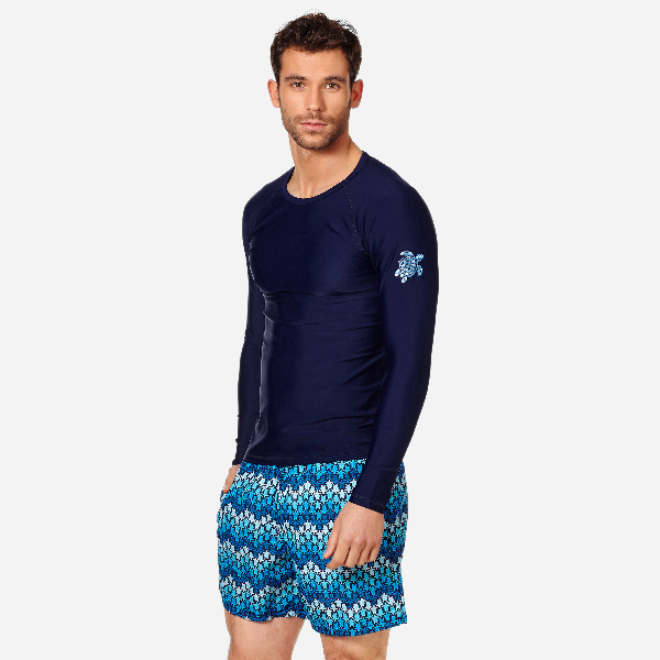 Vilebrequin Takeoff Long-Sleeve Turtle-Accented Rash Guard Tee In Blue