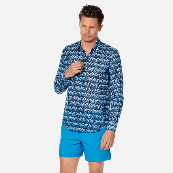 Vilebrequin Pap Unisexe Adulte - Unisex Cotton Voile Shirt Herringbones Turtles - Shirts - Caracal In Blue