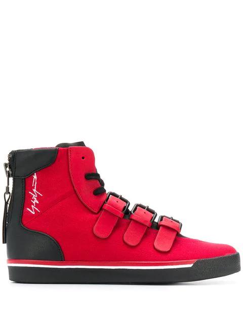 Yohji Yamamoto Signature High Top Sneakers In 1 Red