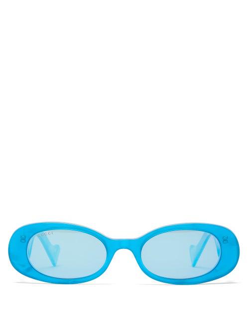 Gucci Oval Pearlescent Acetate Sunglasses In Blue