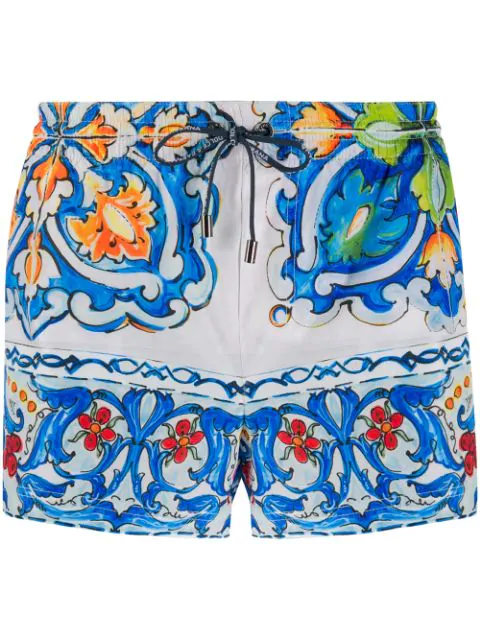 Dolce & Gabbana Patterned Swim Shorts In Blue
