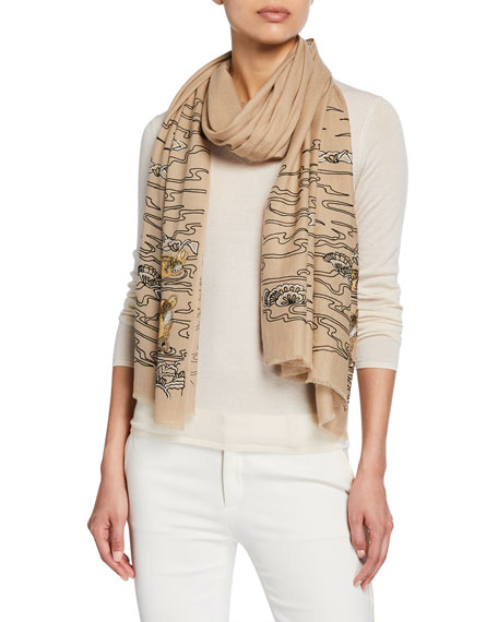K Janavi Hippo In The River Merino Wool Scarf In Beige