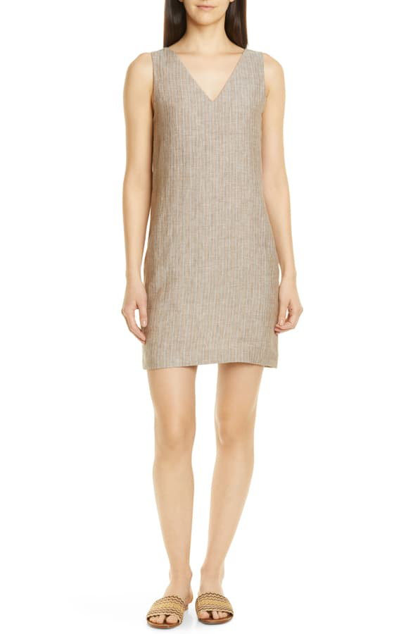 Theory Striped V-Neck Sleeveless Linen Shift Dress In Multi