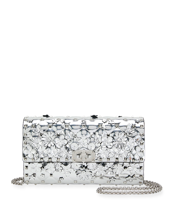 e8c2b0729c Valentino Spike It Flower Shoulder Bag In Silver | ModeSens