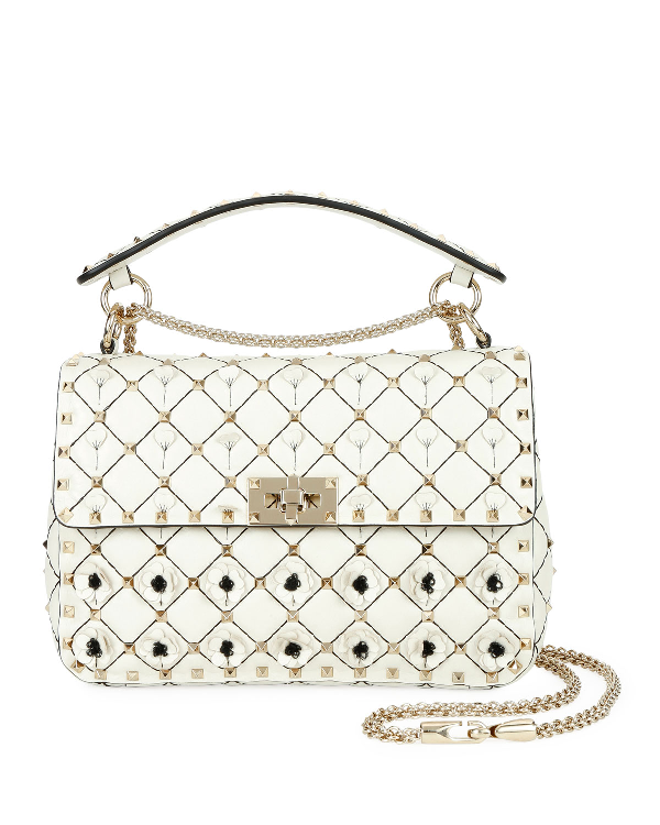 b653a0f113 Valentino Spike It Medium Flower Shoulder Bag In Ivory | ModeSens