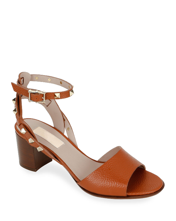 Valentino Rockstud Leather Ankle-Strap Sandals In Brown