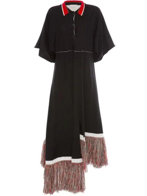 Jw Anderson Fringe-Hem Empire Waist Asymmetric Shirtdress In Black