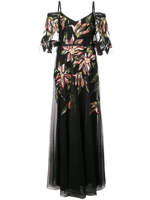 Marchesa Notte Long Sleeve Embroidered Tulle Gown In Black