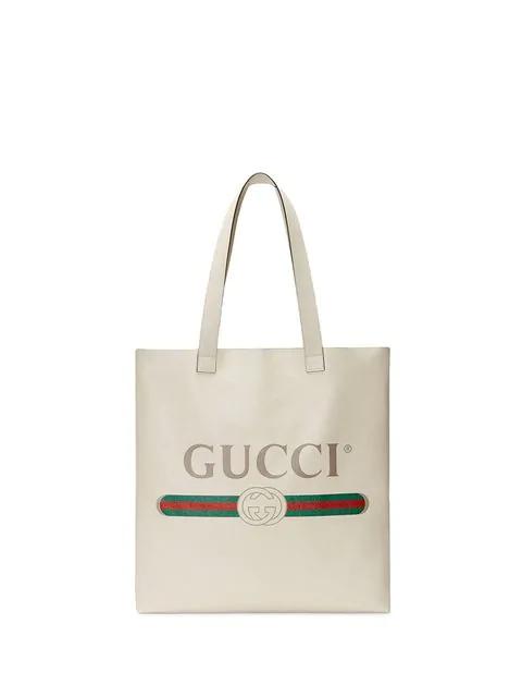 Gucci Print Leather Tote In 8820 Bianco