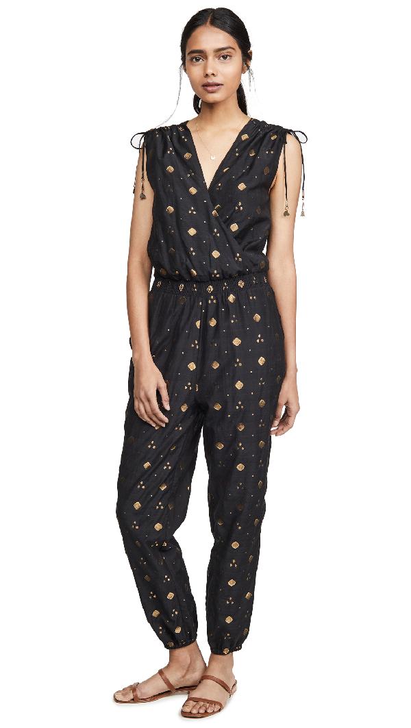 Joie Nadezhda Printed Metallic Jumpsuit In Caviar