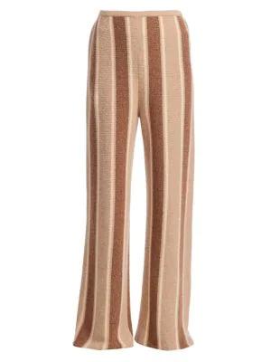 The Row Culotta Woven Cashmere & Silk Pants In Dark Brown Fawn Stripe