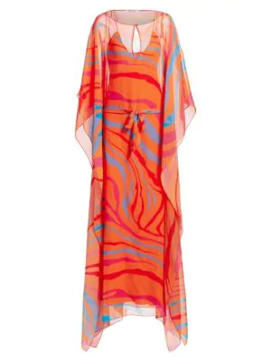 bb9bf64339cda Roberto Cavalli Multicolor Zebra Silk Kaftan | ModeSens