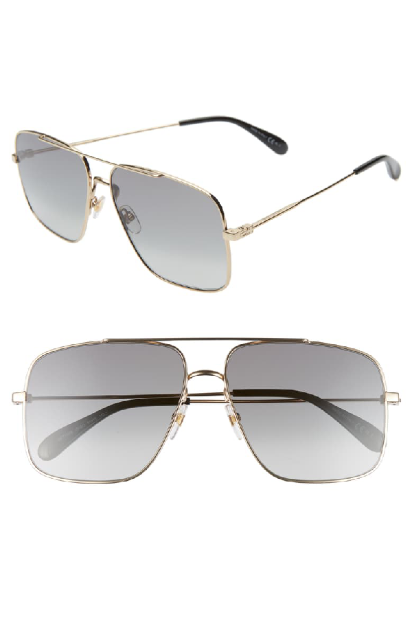 Givenchy Men's Brow Bar Aviator Sunglasses, 69mm In Gold