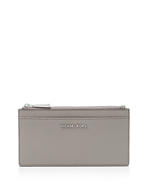 ccc676104a2e Michael Michael Kors Money Pieces Large Slim Leather Card Case In Pearl  Gray/Silver