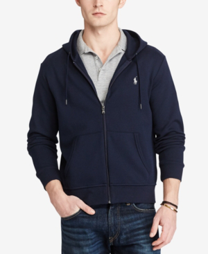 Polo Ralph Lauren Men's Big & Tall Double-Knit Full-Zip Hoodie In Aviator Navy