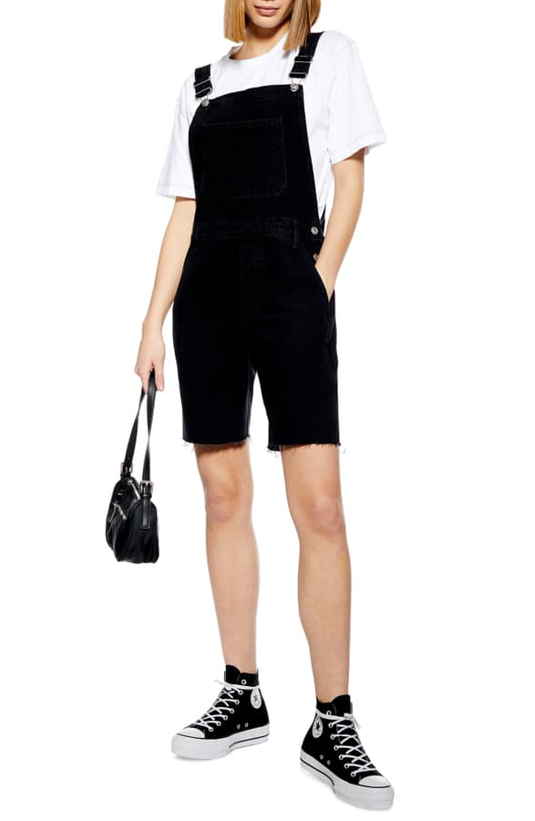 Topshop Cycle Dungaree Overalls In Washed Black