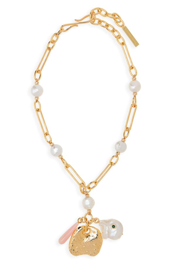 Lizzie Fortunato Holiday Charm Necklace In Pearl/ Gold