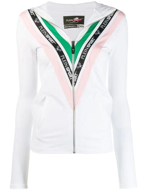 Plein Sport Tennis Zipped Hoodie In White