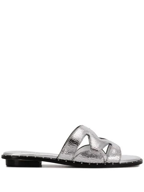 Michael Michael Kors Open-toe Sandals In Silver