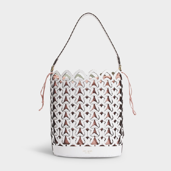 1219b078278 Kate Spade New York   Dorie Medium Bucket Bag In Black Leather in White