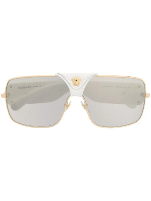 Versace Leather Logo Detail Sunglasses In White