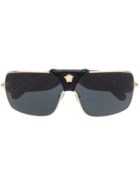 Versace Leather Logo Detail Sunglasses In Black