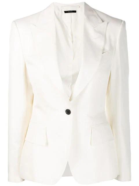 Tom Ford Single-breasted Blazer In White