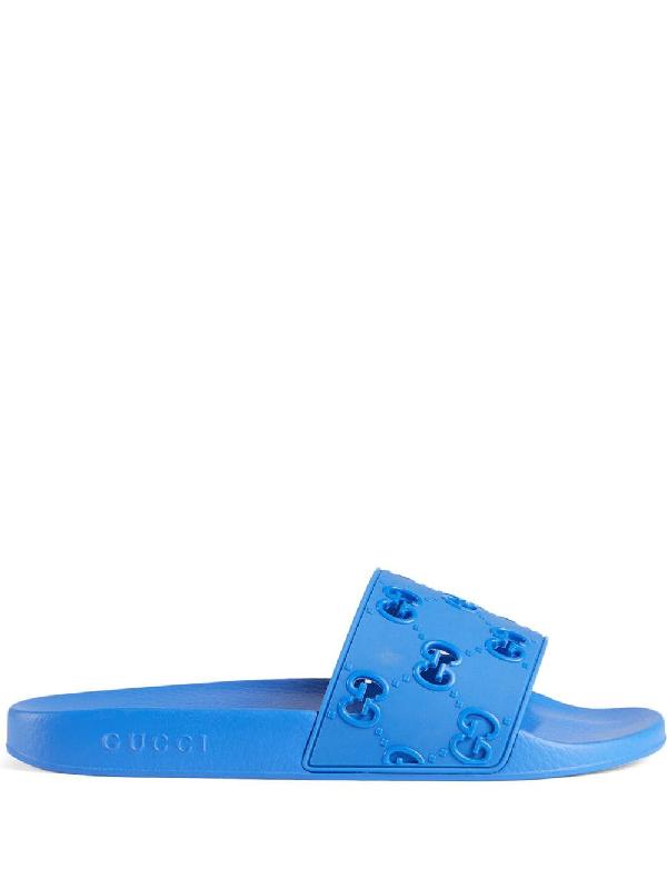 Gucci Men's Rubber Gg Slide Sandal - Blue In 4344 Blu