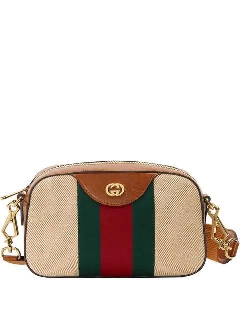 Gucci Vintage Canvas Shoulder Bag In Brown