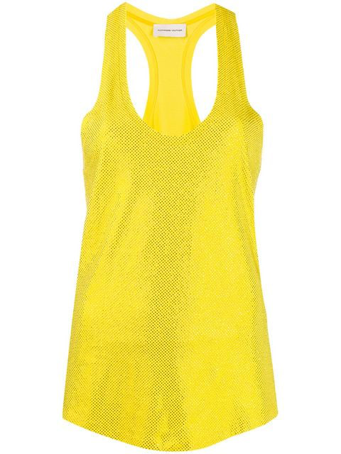 Alexandre Vauthier Embellished Tank Top In Yellow