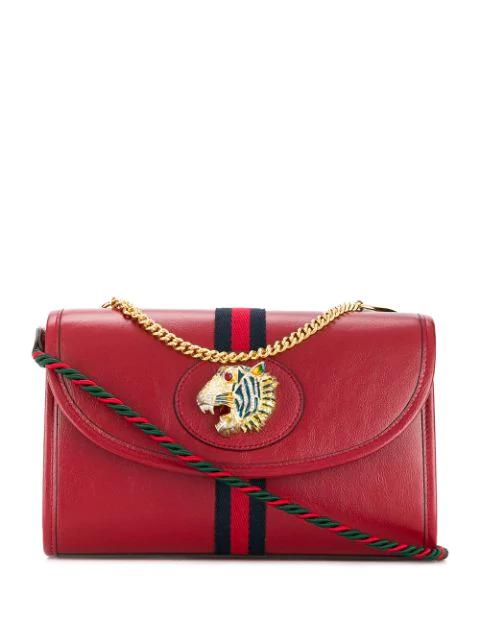 Gucci Rajah Motif Shoulder Bag In Red