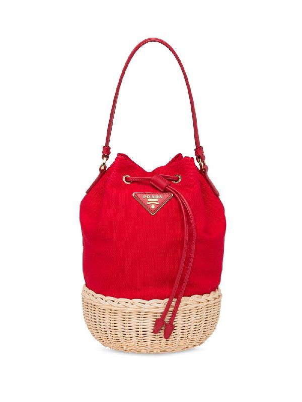 9f02d48a92e1b5 Prada Wicker And Canvas Shoulder Bag - Neutrals | ModeSens