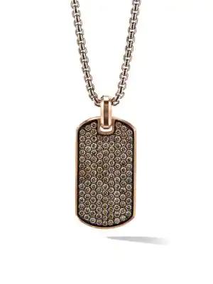David Yurman Pavé Streamline Diamond & 18k Rose Gold Tag