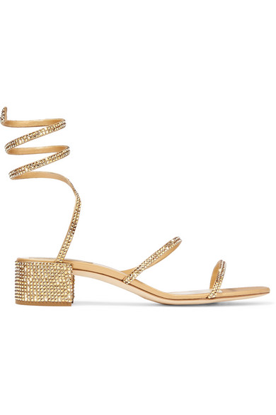 048bab773 RenÉ Caovilla Cleo Crystal-Embellished Satin And Leather Sandals