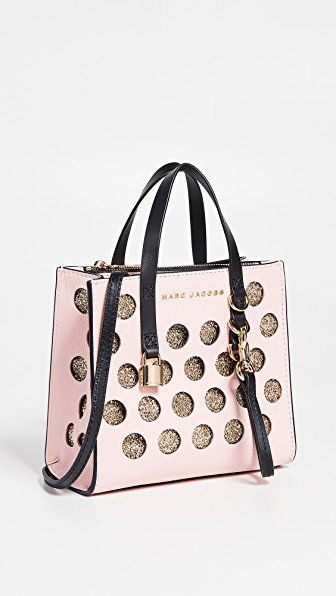 Marc Jacobs The Mini Grind Perforated Tote Bag Colour: Pink In Blush Multi