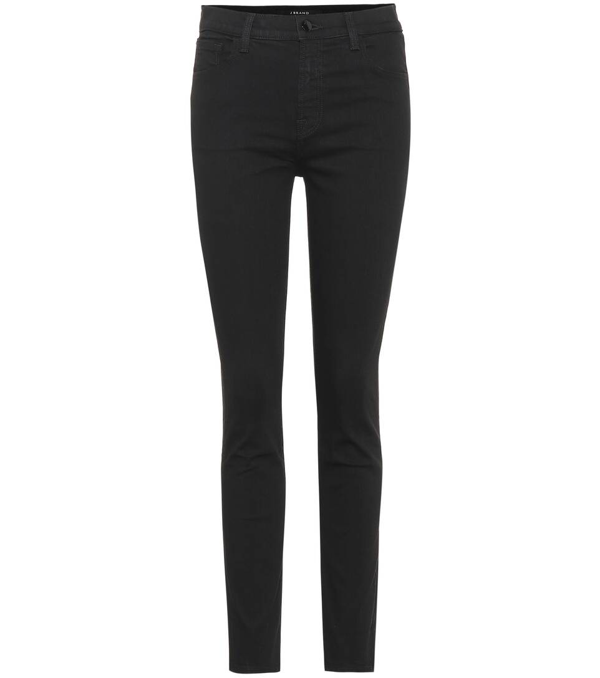 J Brand Ruby High Rise Cropped Cigarette Jeans - Vanity In Black