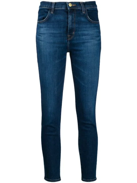 J Brand Alana Cropped High-rise Skinny Jeans In Blue