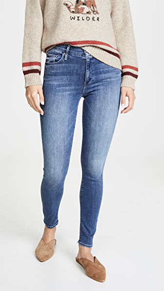 Mother Looker Frayed Ankle Distressed Skinny Jeans In One Smart Cookie