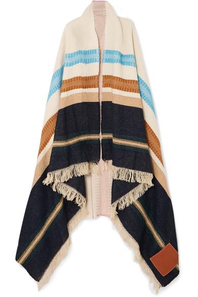 Loewe Paula's Ibiza AppliquÉD Embroidered Wool Wrap In Brown