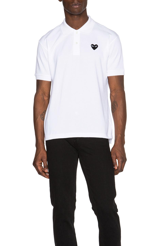c3b970368e39 COMME DES GARÇONS PLAY Comme Des Garcons Play Cotton Polo With Black Emblem  In White