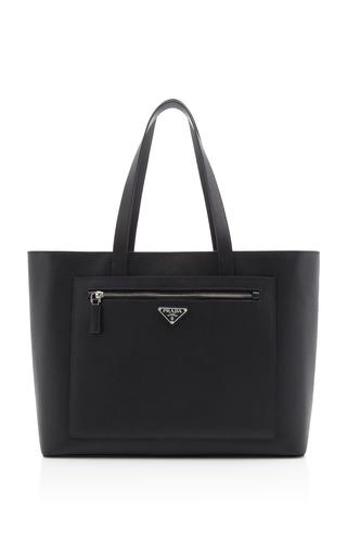 Prada Textured-Leather Tote In Black