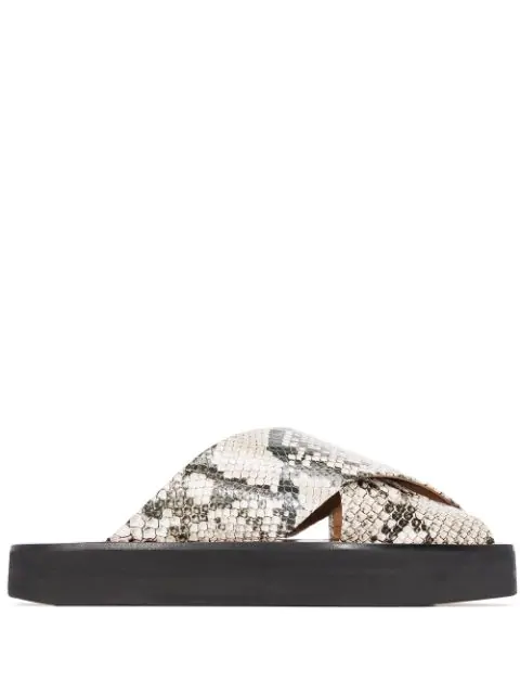 Atp Atelier Snake Print Crossover Sandals In Grey