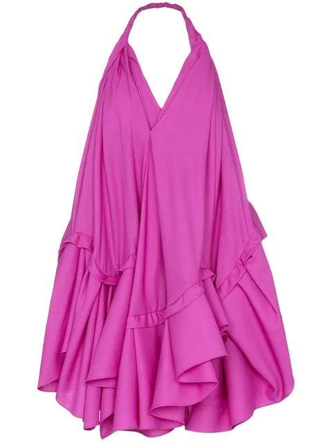 Jacquemus Rosa Open-Back Asymmetric Wool Halterneck Dress In Pink
