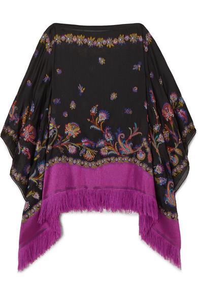 Etro Fringed Silk-blend Jacquard Poncho In Black