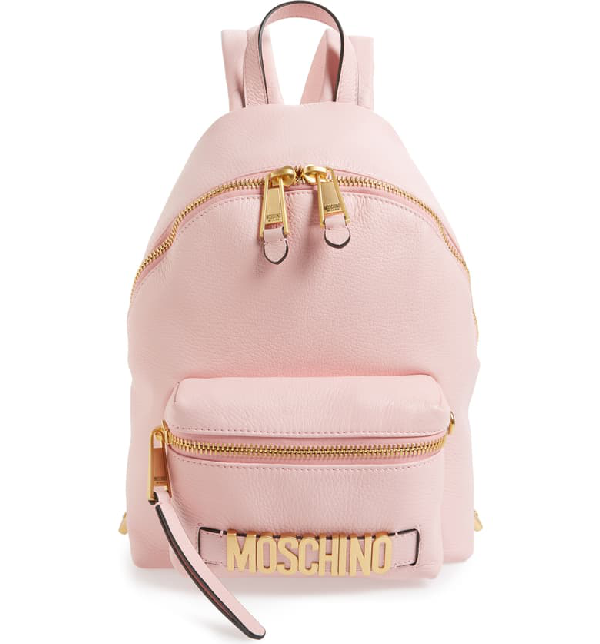 Moschino Logo Leather Backpack - Pink