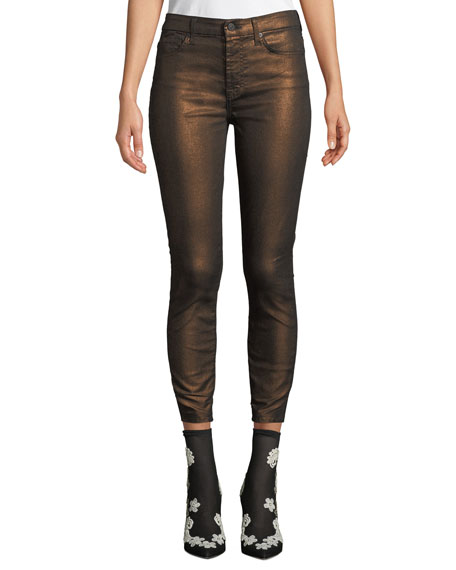 7 For All Mankind Metallic Mid-rise Skinny Ankle Jeans In Gunmetal