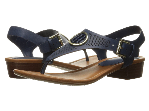 3783480b8d5ff Tommy Hilfiger Kandess Block-Heel Thong Sandals Women s Shoes In Navy